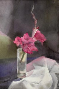 """Gladiolus"" watercolor on paper, 57 x 38, 2014"