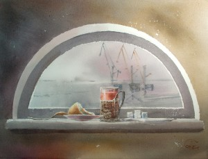 """Tea with a view of the harbor cranes"" watercolor on paper, 46 x 61, 2015"