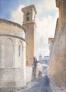 """Fabriano. The apse of St. Venanzio Cathedral"" watercolor on paper, 56 x 41, 2015"