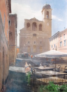 """Fabriano. San Nicolo Church"" watercolor on paper, 56 x 41, 2015"