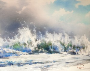 """The sun, the wind and the foamy surf"" watercolor on paper, 51 x 65, 2015"