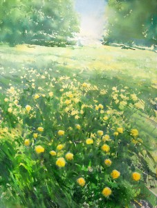 """May, the time of blooming dandelions"" watercolor on paper, 61 x 46, 2015"