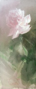 """Light Pink Peony"" watercolor on paper, 41 x 17, 2015"