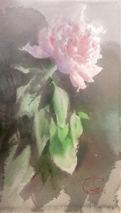 """Pink Peony and the shadow"" watercolor on paper, 41 x 26, 2015"