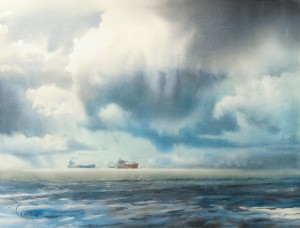 """Rain and Sun over the sea channel"" watercolor on paper, 46 x 61, 2015"