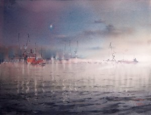 """Star and the port lights"" watercolor on paper, 50 x 66, 2015"