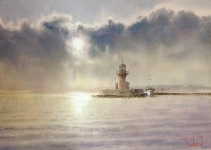 """The sun above the lighthouse"" watercolor on paper, 40 x 57, 2015"