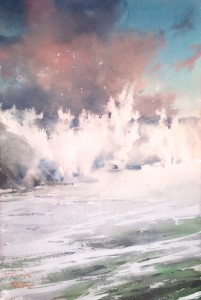 """Windy sunset, foamy waves"" watercolor on paper, 57 x 38, 2015"