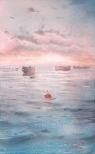 """Dawn, the boats"" watercolor on paper, 56 x 35"