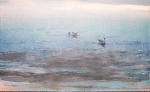 """Morning. Seagulls on the water"" watercolor on paper, 34 x 56, 2014"