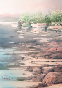 """Clear July morning"" watercolor on paper, 48 x 34, 2015"