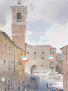 """Fabriano, Piazza del Comune. The spring rain gathers"" watercolor on paper, 41 x 31, 2016"