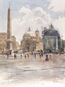 """Piazza del Popolo and the shining clouds"" watercolor on paper, 35 x 26, 2016"
