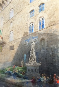 """Palazzo Vecchio. The performance of Light and Shadow"" II, watercolor on paper, 55 x 38, 2016"