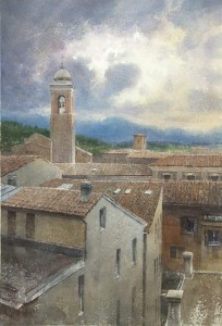 """The Clouds and Roofs of Fabriano"" watercolor on paper, 56 x 38, 2016"