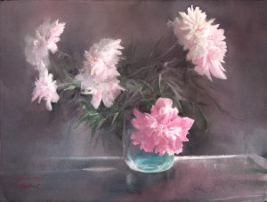 """Seven peonies"" watercolor on paper, 56 x 76, 2016"