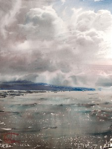 """The far blue shore"" watercolor on paper, 56 x 28, 2016"
