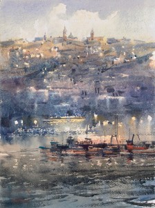 """Light over the sleepy harbour"" watercolor on paper, 36 x 27, 2017 © Sergey Temerev"