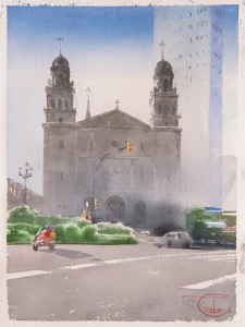 """Gijon, St. Joseph Church and the tower of Bankunion"" watercolor on paper, 35 x 26, 2017"