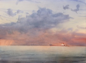 """Twilight over the calm sea"" watercolor on paper, 56 x 76, 2017"