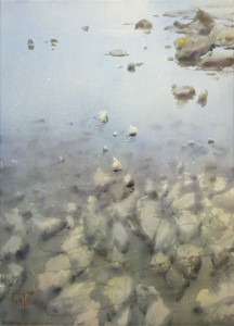 """""""Asturias. Stones at low tide"""" watercolor on paper, 56 x 41, 2017"""