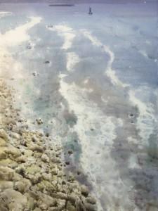 """""""Where does Ocean begin?"""" var. II, watercolor on paper, 56 x 41, 2017"""