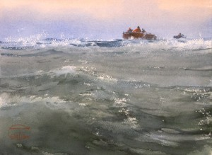 """""""Through the coastal waves"""" watercolor on paper, 26 x 36, 2017"""