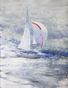 """Sea"" watercolor on paper, 65x50, 2018"