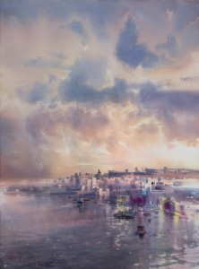 """""""City by the Sea. Evening"""" watercolor on paper, 56 x 76, 2018"""