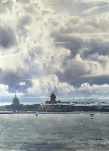 """""""The sky of St-Petersburg"""" watercolor on paper, 56 x 38, 2018"""