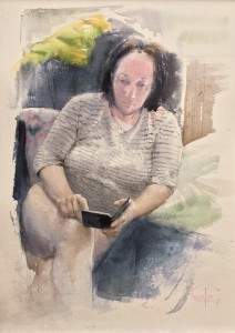 """""""A news reading"""" watercolor on paper, 40 x 28, 2018"""