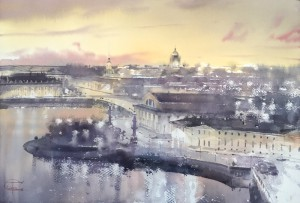 """The silhouettes and the light of Saint-Petersburg"" watercolor on paper, 38 x 56, 2018"