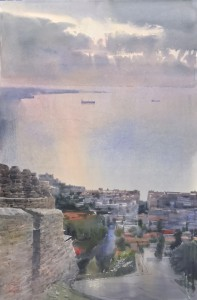 """""""Memories of Greece. The miraculous light over the harbour"""" watercolor on paper, 56 x 38, 2018"""