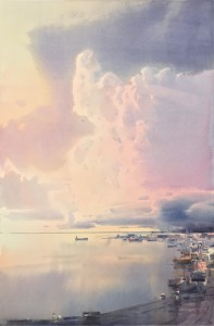 """""""Silence over the harbour"""" watercolor on paper, 56 x 38, 2018"""