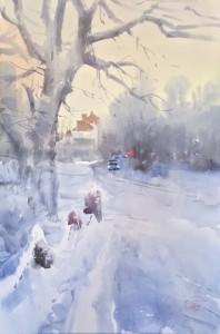 """""""Freezing cold day"""" watercolor on paper, 56 x 38, 2019"""