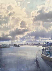 """The flow of the Neva River, the movement in the Skies"" watercolor on paper, 76 x 56, 2019"