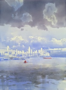 """""""The city on the Horizon - IV"""" watercolor on paper, 76 x 56, 2019"""