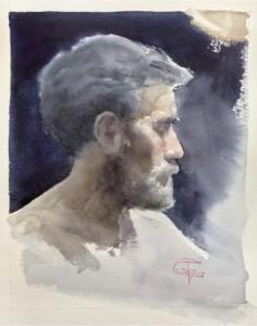 """""""Self Portrait Profile"""" watercolor on paper, 36 x 26, 2019"""