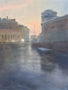 """The Moyka River. Expecting the snow"" watercolor on paper, 61 x 46, 2019"