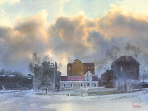 """""""The light of the January day"""" watercolor on paper, 46 x 61, 2020"""