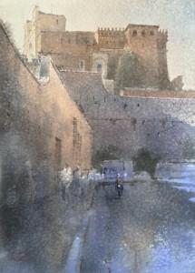 """""""Vatican City Walls. Porta Santa Rosa"""" watercolor on paper, 56 x 40, 2020"""