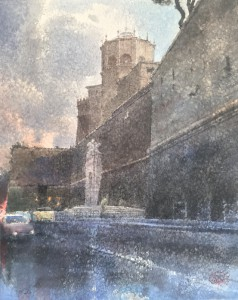 """Vatican City Walls. The Old Entrance to Museums"" watercolor on paper, 50 x 40, 2020"