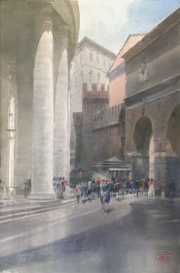 """Largo del Colonnato. The Gate, the Colonnade, and shadows"" I, watercolor on paper, 60 x 46, 2020"