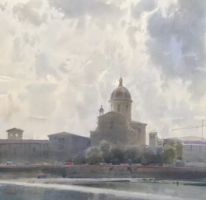 """Florence, Arno River & San Frediano in Cestello Church"" watercolor on paper, 56 x 57, 2020"