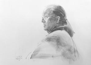 """""""Laurin McCracken"""" graphite, brush, 36 x 26, 2020"""