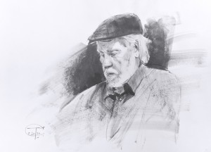 """John Salminen"" graphite, brush, 36 x 26, 2020"