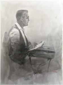 """Joseph Zbukvic"" ink, graphite, brush, 36 x 26, 2020"