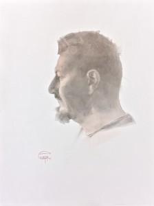 """""""Atanas Matsoureff"""" red and black Chinese ink, graphite, 36 x 26, 2020"""