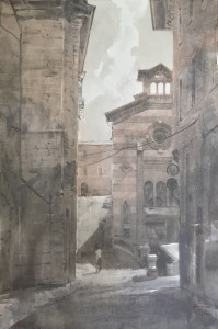'Fabriano, Via Filippo Corridoni. The light and shadows' red & black Chinese ink, graphite, 56 x38, 2020