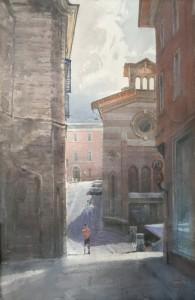'Fabriano, Via Filippo Corridoni. The light and shadows' watercolor on paper, 56 x 38, 2020